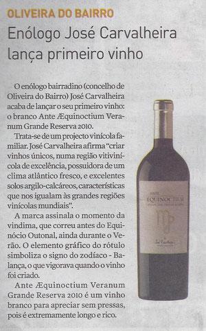 Notícia Lançamento Branco Ante Æquinoctium Veranum 2010 Grande Reserva in Jornal da Bairrada 17-11-2011