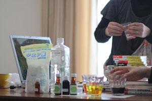 食品添加物実験の様子