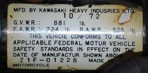 Plaque de cadre Z1F-01228 du 10/72...