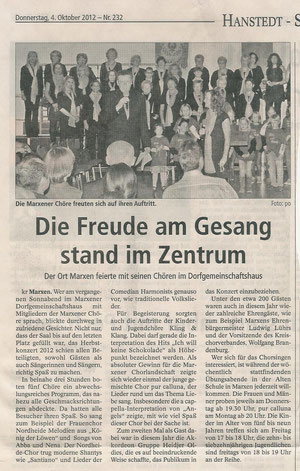 Bericht Herbstkonzert 2012