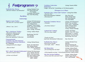 Festprogramm vom Sängerfest 2009