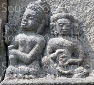 Vishnu playing drum and Brahma small cymbals.