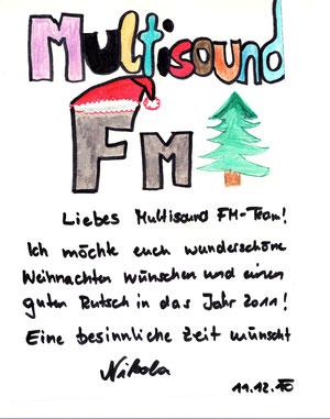 Gewinner-Weihnachtskarte von Nikola