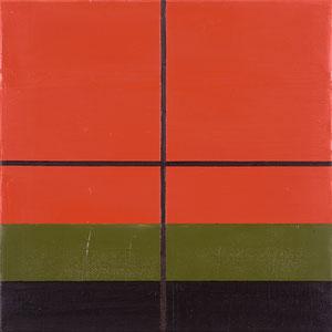Atelierfenster rot (206) 1996 Ölfarbe 60 x 60 cm