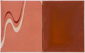 o.T. 2012 (185) Stoffdruck, Tempera 30 x 48,5 cm