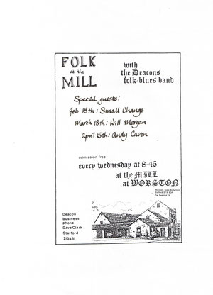 Folk at the Mill poster from 1984