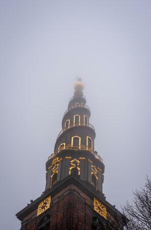 Der Blick nach oben zur Frelsers Kirke