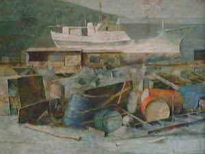 港 F30号 キャンバスに油彩
