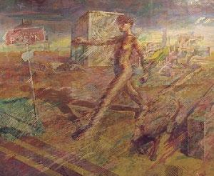歩く人物 キャンバスに油彩、箔 194*162cm