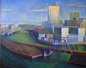 運河 キャンバスに油彩 162*130cm