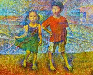 海辺の子ども キャンバスに油彩 F100