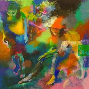 河原にて キャンバスにアクリル絵の具 162*162cm