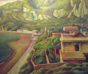若郷風景 キャンバスに油彩 F130