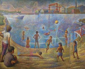 海の公園 キャンバスに油彩 F100