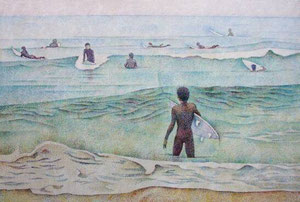 海辺 キャンバスに油彩 F120