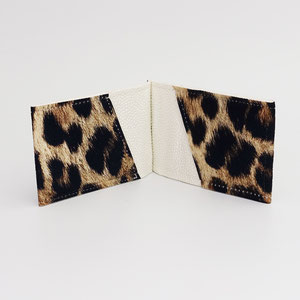 Porte-cartes anti-piratage, motif léopard (fait main)