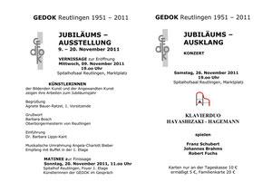 Einladung zur GEDOK Jubiläums-Austellung und Konzert