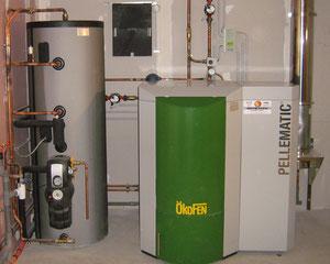 Chaudière automatique à granulés et chauffe eau solaire