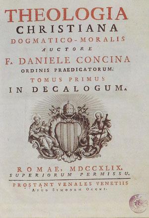 """Frontespizio della """"Theologia Christiana"""" di Daniele Concina, Roma 1749 (foto Viola da ÂS Int e Cjere - 1992)."""