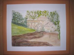 Mühle mit braunem Teich