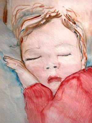 Enfant endormi, aquarelle.D.Petit