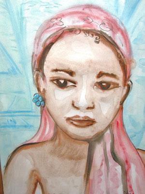 Enfant au turban, aquarelle.D.Petit