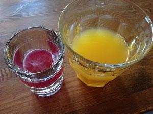 香りのする、レモン、みかんジュースを酵素ジュースと一緒に飲む。