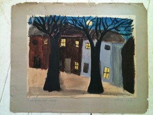 D. EXELL 13 years Moon rising over houses 1939 40 Convent of the Sacred Heart Hammersmith Oxford