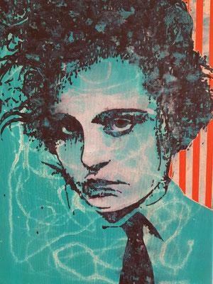 JAN MUCHE,  OT (Kleines blaues P), 2019, Acryl und Tusche auf Leinwand, 58 x 43 cm
