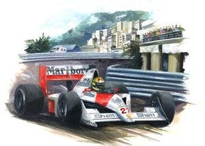Ayrton Senna 1990 (Gouache 50X40cm)