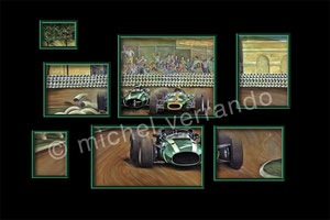 john surtees cooper maserati grand prix mexico art painting illustration