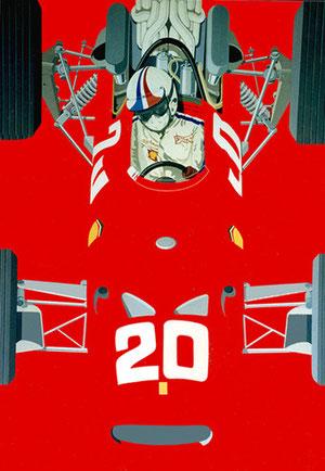Chris Amon Monaco 1967 Huile & Acrylique 80x120cm)
