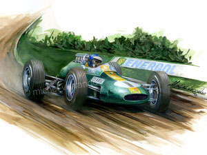 automotive art Jim Clark Lotus 25 peinture paint gouache clark