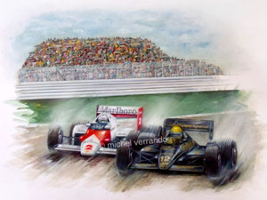 senna estoril prost art automobile peinture
