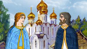 Ангел уговаривает князя не завидовать многодетному дровосеку