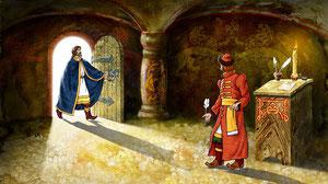 Князь не послушал ангела и начал издавть указы лишающие работы дровосека