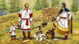князь испытываетверу дровосека в промысел Божий и сообщает ему что дрова в городе продавать больше нельзя