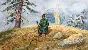 Дровосек просит Бога о вразумлении и ему является ангел в помощь