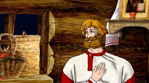 дровосек говорит с заблудившимся князем у себя в доме