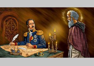 Явление св.Саввы Сторожевского генералу Евгению Богарне в келье монастыря