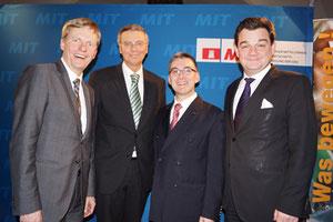 V.l.n.r.: Rüdiger Kruse MdB, Wolfgang Bosbach MdB, Hjalmar Stemmann MdHB und Markus Weinberg MdB