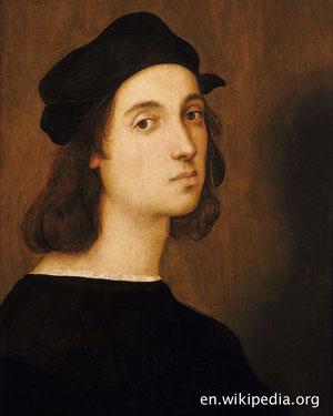 Raffael ist neben Leonardo da Vinci und Michelangelo einer der großen Meister der Renaissance.. Das Foto zeigt ein Selbstportrait Raffaels im Alter von 23 Jahren.