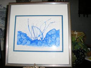 Tempête aquarelle travaillée à la plume et au sel 18*14 150€