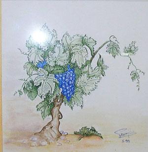 Vigne, aquarelle travaillée à la plume 20*20 250€