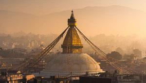 Reise nach Nepal und Bhutan, hier grosse Stupa von Bodnath im Kathmandu-Tal