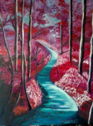 un ruisseau bordé d'arbres rose
