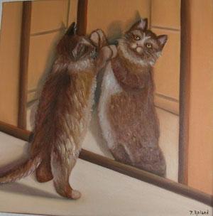 chat se regardant dans un miroir