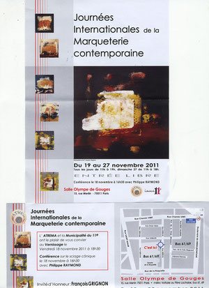 Du 19 au 27/11 à PARIS 11° Salle Olympe de Gouges - Journées Internationales de la Marqueterie contemporaine - AFFICHE