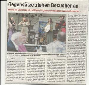 Artikel anlässlich unseres Auftritts beim Festival der Künste im August 2012 zusammen mit der Jazzband Bluenite