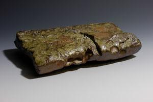 """Chubby Platter, woodfired stoneware.  7.25 """" x 5"""" x 1.25"""""""